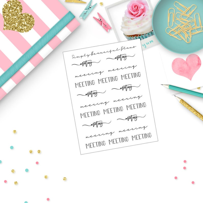 Clear Foil Planner Stickers Fits Erin Condren and Happy Planner Meeting Script Stickers