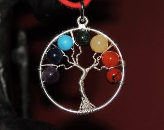 Chakra Tree of Life Pendant with Round Beads