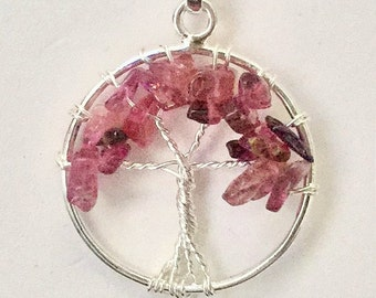 Sterling Silver Pink Tourmaline Tree of Life Pendant