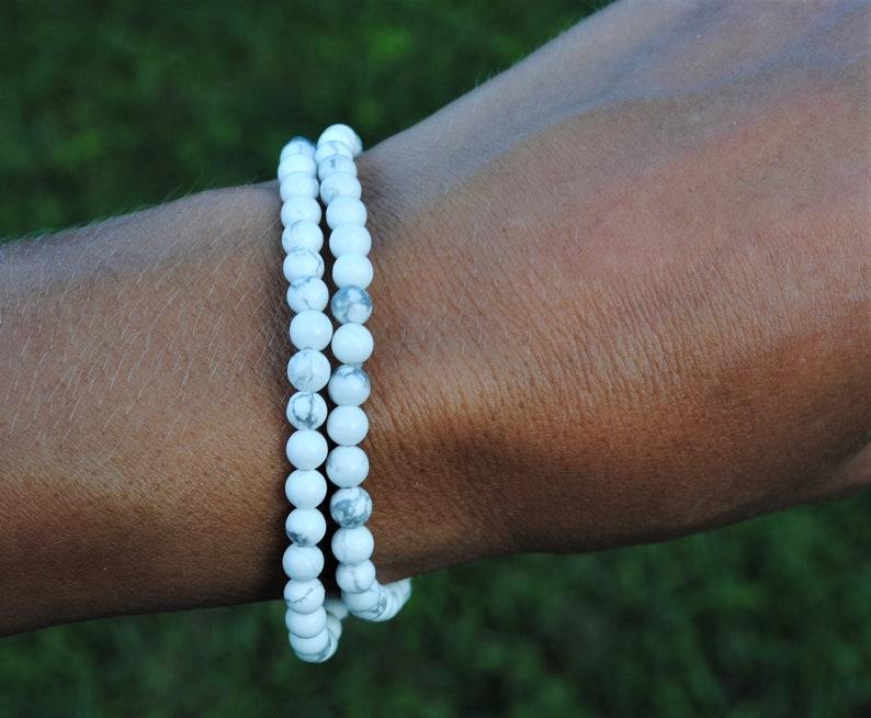 White Howlite 4mm Bead Bracelets Set of Two image 0
