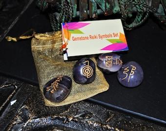 Reiki Symbols Dogtooth/Chevron Amethyst Set in Pouch