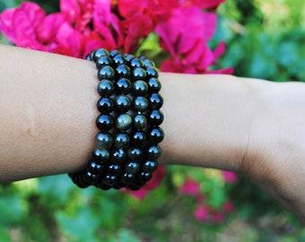 Sheen Obsidian 8mm Round Bead Bracelet