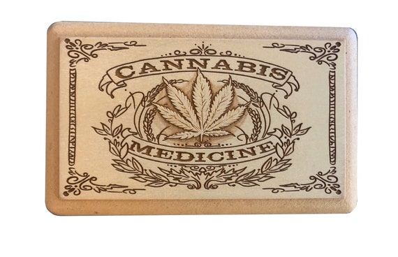 laser cut and engraved unique box 5x3.5\u201d 420 Screen Box magnetic lid and bottom tray Vintage Style Cannabis