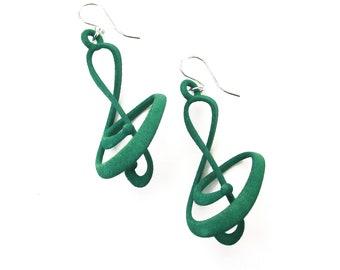 Treble -- Teal 3D Printed Earrings   3D Printed Earrings   3D Printed Jewelry