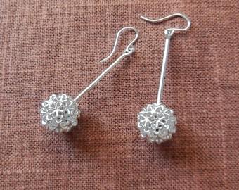 Virus Ball - Sterling Silver Earrings   3D Printed Jewelry   3D Printed Earrings   Cast Silver Earrings