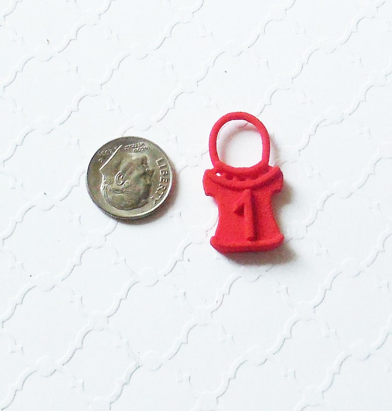 Red Numbered Sweater Shaped Stitch Markers in 3D Printed Plastic Pullover