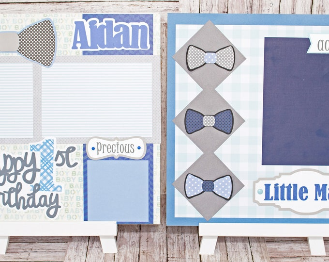 Any Birthday Year, Any Color, Handmade Scrapbook Page Set, Little Man Bow Tie, Custom Premade Kit, Personlized Memory Book, Child, Baby Boy
