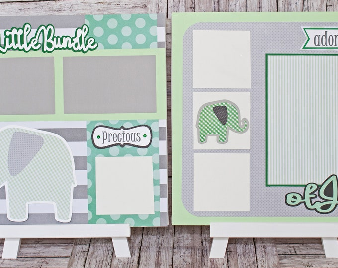 Any Color or Gender, Any Theme, Custom Premade Kit, Personalized Scrapbook Page, Baby Elephant, Memory Book, Bundle of Joy, Nursery Theme