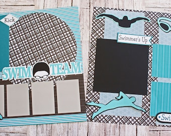 Pick Your Colors, Custom Made, Swimming Scrapbook Page Set, Premade Swim Team Pages, Personalized, Team Mascot, School Spirit, High School