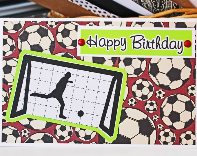 Hand Crafted Soccer Birthday Card - Personalized, Soccer, Card, Teen, Kid, Boy, Girl, Handmade, Birthday, Sport, Custom, Goal, Goalie, Ball