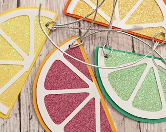 Set of 4, Citrus Themed Gift Tag Set, Lemon Lime Orange and Blood Orange, Sliced Fruit, Handmade Present Tags, Any Occasion, Hang Tag Set
