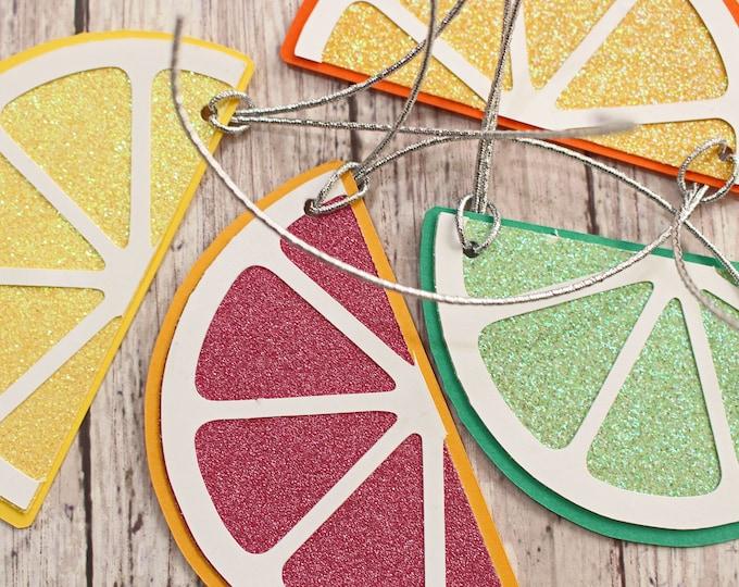 Set of 4, Citrus Themed Gift Tag Set, Lemon Lime Orange and Blood Orange, Sliced Fruit, Handmade Present Tags, Any Occasion, Hang Tag Set