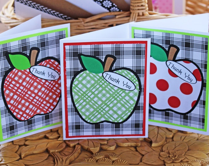 Set of 3, Teacher Thank You Cards, Apple Thank You Cards, Teacher Thank You, Handmade Card, Teacher Thank You Card, Apple Card, Teacher Card