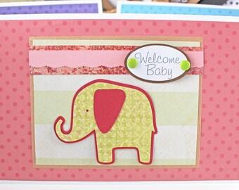 Welcome Baby Girl, Baby Elephant, Handmade Card, Elephant Baby Shower, New Baby Girl, Baby Girl Elephant, Baby Girl Card, Baby Girl Safari