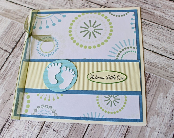 Little Baby Feet Card, Baby Shower Gift, Handmade Greeting, Blue Baby Theme, Newborn Boy Nursery, New Baby Arrival, Expecting Parents, To Be