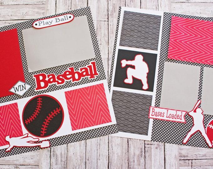 School Team Colors, Custom Made, Baseball Scrapbook Page Set, Memory Book Kit, Premade Baseball Pages, Custom Mascot Design, Personalized