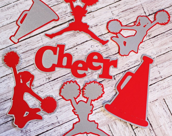 Any Color, Cheerleading Die Cut Set, Set of 7, Scrapbooking, High School, Cheer Team, Team Color, Handmade Diecuts, Memory Book, Party Decor