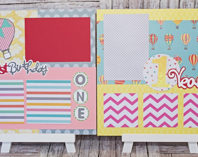 Handmade Scrapbook Page Set, Any Birthday, Baby Girl, Custom Premade Kit, Personlized Memory Book, Hot Air Balloon, Colorful Birthday Theme