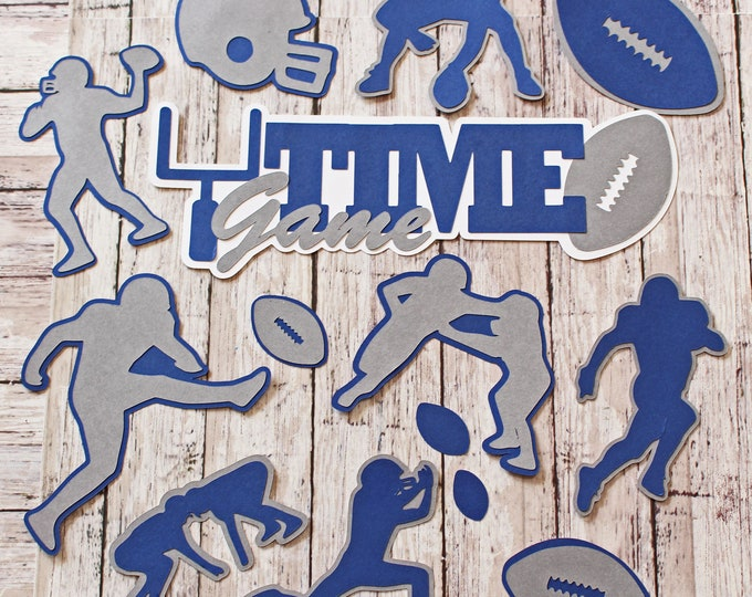 Any Color, Game Time Die Cut Set, Set of 12, High School Sports, College Years, Team Colors, Handmade Football Diecuts, Youth, Party Decor