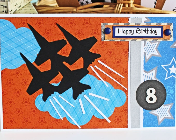 Fighter Jet Card, Custom Number Card, Jet Birthday Card, Handmade Greeting, Military Aircraft Card, Military Theme Birthday, Jet Plane Card