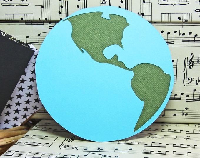 2 Globe Die Cuts, World Map Die Cut Set, Travel Die Cut, World Travel, Travel Scrapbook, Handmade Die Cuts, World Travel Scrapbook Pages