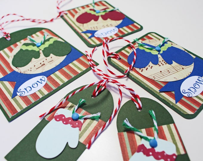 Set of 5, Christmas Mitten Gift Tags, Assorted Gift Tags, Handmade Gift Tags, Christmas, Gift Tags, Holiday, Winter, Mitten, Hang Tags, Snow