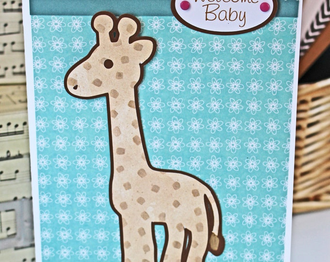 Baby Safari Animal Card,  Noah's Ark Theme Shower, Baby Girl Giraffe Card, Welcome Baby Girl Greeting, Handmade Shower Gift, Baby Zoo Animal
