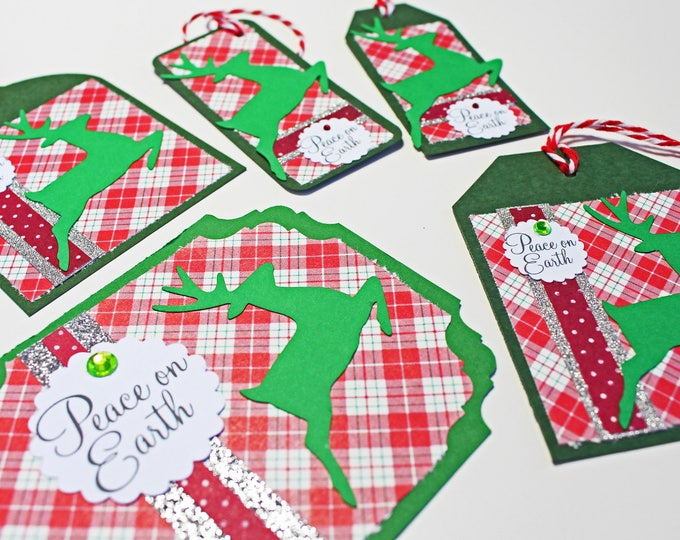 Set of 5, Assorted Reindeer Gift Tags, Handmade Tags, Christmas Gift Tag, Holiday Gift Tag, Reindeer Gift Tag, Gift Tag, Christmas, Holiday