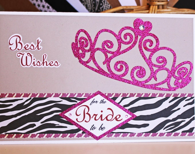 Bachelorette Card, Tiara Card, Handmade Card, Bride to be, Pink, Black, Glitter, Bridal, Bride, Bachelorette, Party, Shower, Wedding, Wishes