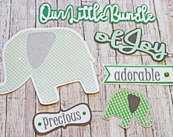 Any Color or Gender, Any Theme, Set of 6 Layered Die Cuts, Scrapbook Embellishment, Custom Diecuts, Baby Book, Handmade Custom, Zoo Elephant
