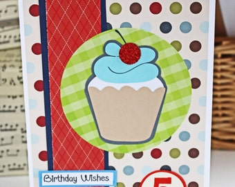 Custom Cupcake Birthday Card for Any Age - Colorful, Cherry, Cupcake, Birthday, Handmade, Card, Boys, Girls, Sweets, Dessert, Personalized