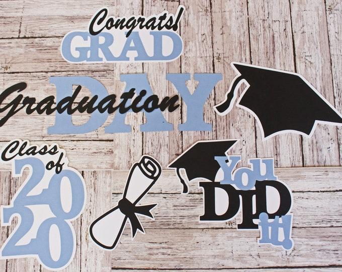 Any 2 Colors, Set of 20, Layered Diecuts, Graduation Die Cuts, Personalized Name, Custom Diecut Set,  Congrats Grad, Scrapbook Embellishment