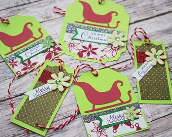 Set of 5, Santa's Sleigh Gift Tags, Elegant Christmas Gift Wrap Embellishment, Handmade Holiday Tag Set, Fancy Red Sleigh Hang Tag, Gifting