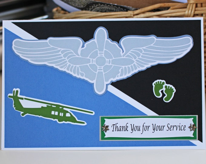 Made to Order Card, Custom Military Aviator Card, Aviator Wings, Military Aircraft, US Air Force, Army, Navy, Coast Guard, Marine, Space
