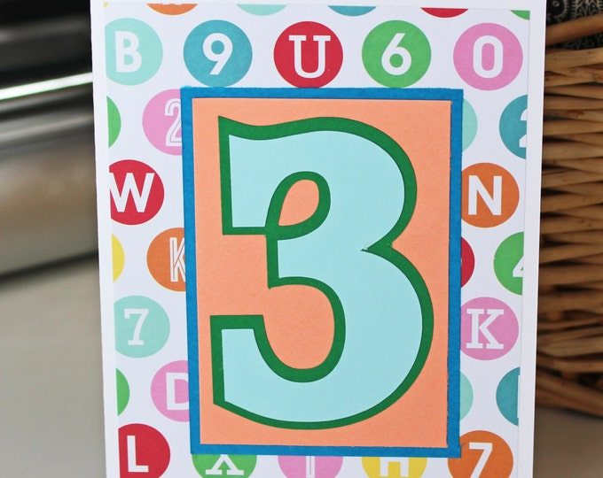 Custom Birthday Number Card, Handmade Greeting, 1st, 2nd, 3rd, 4th, 5th, Birthday Card, Kids, Toddler, Child, Baby, Boy or Girl, Party Theme
