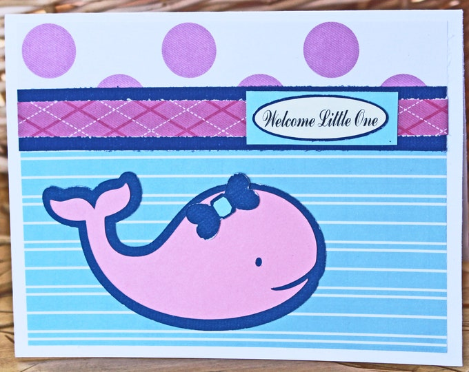 Baby Whale, Baby Girl Card, Whale Baby Shower, Handmade Card, Newborn Baby, Baby Girl, Whale Card, Nautical Baby Card, Nautical Baby Shower