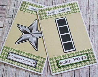 US Army Promotion Card, Enlisted or Officer Ranks, Handmade Army Card, Pinning on Rank Card, Promotion Greeting Card, Special Achievement