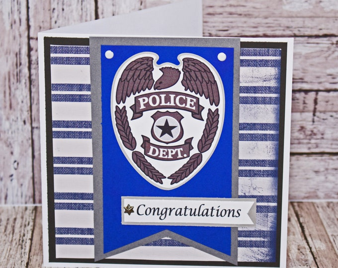 Police Officer Card, Law Enforcement Officer Card, Handmade Card, Retirement, Police Academy, Graduation, Promotion, Congrat, Thank You Card