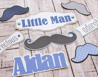 Any Colors, Set of 7, Layered Die Cuts, Scrapbook Embellishment, Little Man, Memory Book, Handmade, Mustache Shower Theme, Baby Boy Stache
