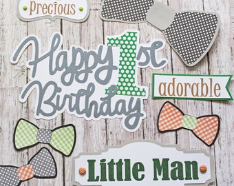 Any Colors, Any Birthday Year, Set of 8, Layered Die Cuts, Scrapbook Embellishment, Little Man, Baby Boy Book, Handmade, Little Boy, Bow Tie