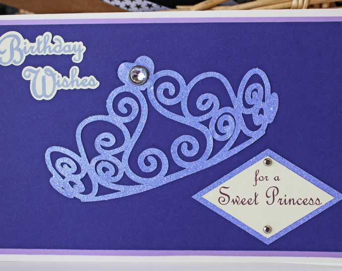 Tiara Birthday Card, Princess Birthday, Handmade Greeting, Personalized Card, Purple Bling Card, Queen's Crown Bday, Princess Theme Party,