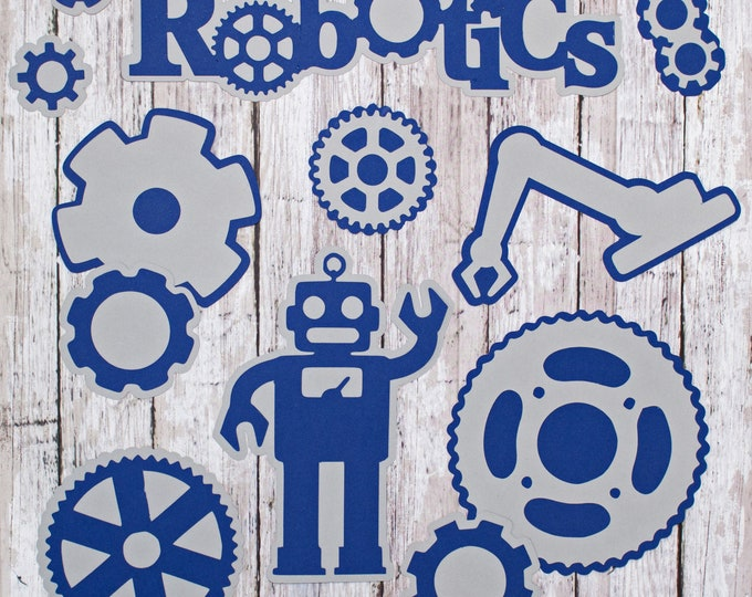 Any 2 Colors, Set of 12, Robotics Layered Diecuts, Engineering & Technology, Custom Die Cut Set, Scientists and Inventors, Scrapbook Pages