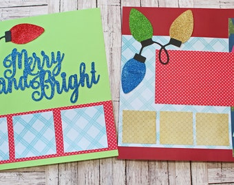 Merry and Bright Scrapbook Pages, Whimsical Christmas, Premade Scrapbook Page Kit, Fancy Layered Die Cuts, Elegant Glitter Christmas Lights