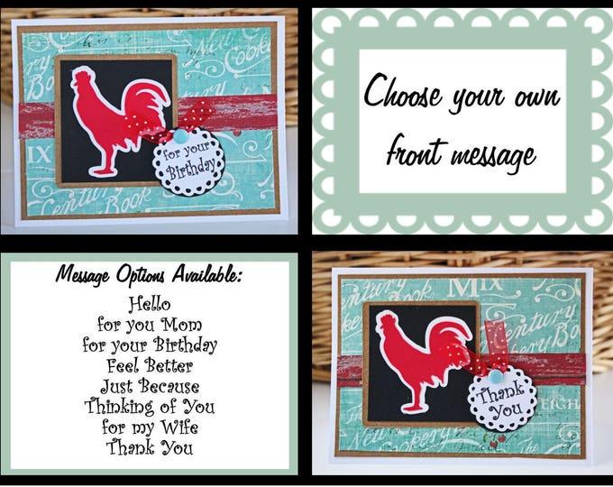 Custom, Handmade Hen Card, Red Hen Card, Hen Birthday Card, Red Hen Note Card, Hen Thank You Card, Country Card, Chicken Card, Rooster Cards