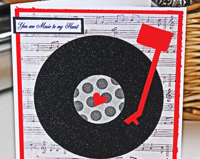 Music to My Heart Vinyl Record Valentine Card - Music, Note, Valentine, Valentine's Day, Vinyl, Record, Heart, Glitter, Record, Player, Card