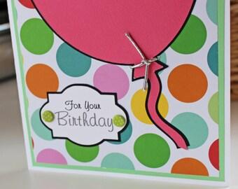 Pink Birthday, Balloon Card, Colorful, Handmade Card, Birthday Card, Pink Balloon, Greeting Card, Polka Dots, Birthday Card, Girl's Birthday