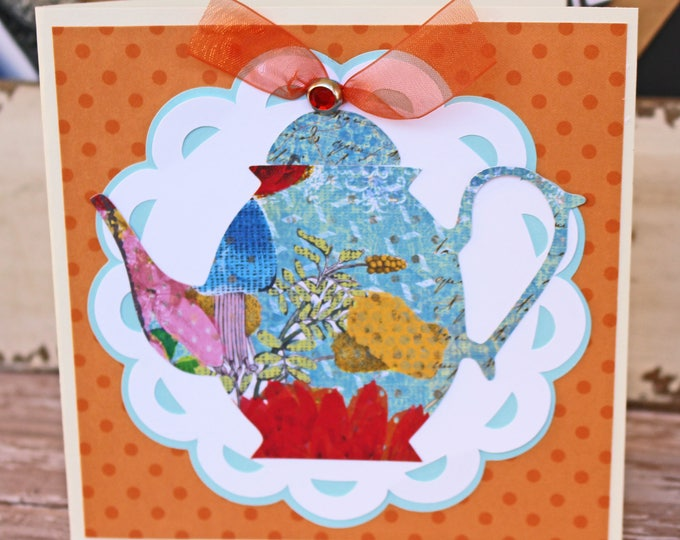 Customize Front Message, Vintage Teapot Card, Mother's Day, Birthday for Her, Handmade Greeting, Antique High Tea Pot, Floral Pattern Design