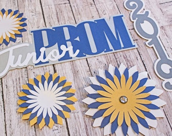 Custom Color and Year, Junior Prom Die Cut Set, High School, Formal Dance, Scrapbook Diecuts, Memory Book, Colorful Prom Theme, Unique Gift