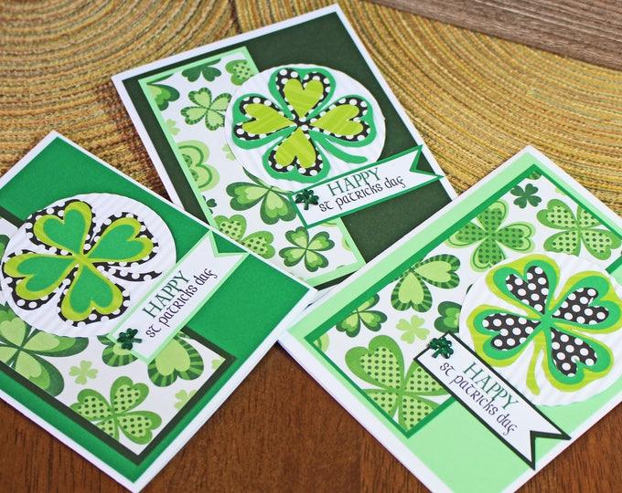 Set of 3, Saint Paddy's Day Cards, Irish, Handmade Cards, St. Patrick's Day, Saint, Paddy's, Patrick's, 4 Leaf, 3 Leaf, Clover, Green, Happy