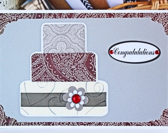 Red and Silver Layered Wedding Cake Card - Wedding, Congratulations, Handmade, Card, Red, Silver, Bridal, Bride, Groom, Cake, Newlywed, Wine